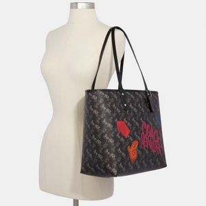 Coach Reversible Black Tote Horse & Carriage Print